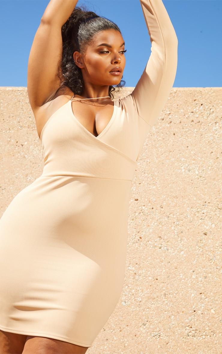 Plus Nude Second Skin Asymmetric Strap Bodycon Dress 5