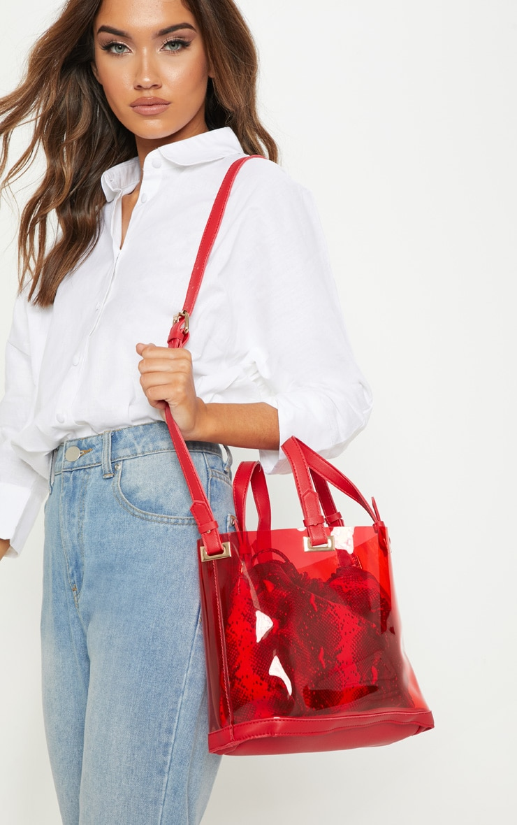 Red Clear Croc Pouch Cross Body Bag