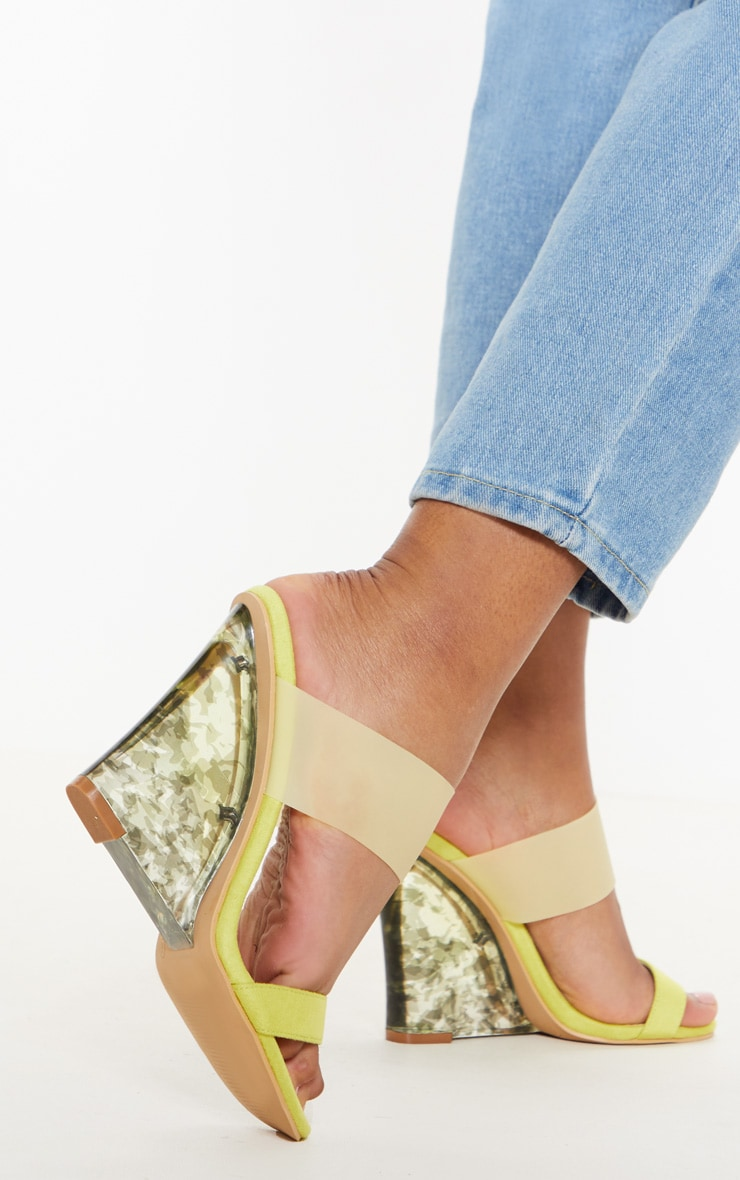 Yellow Tortoise Wedge Mule Sandal 2
