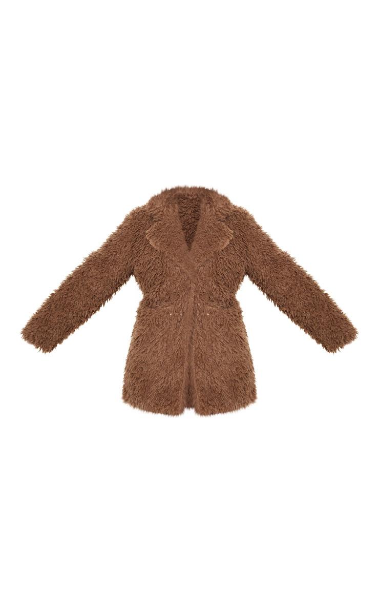 Plus Brown Teddy Faux Collar Coat 3