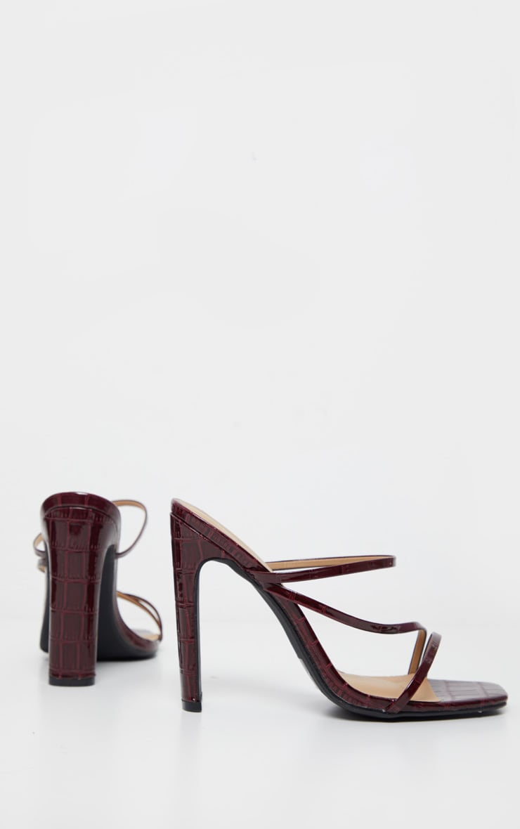 Burgundy Wide Fit Square Toe Flat Heel Strappy Mule 3