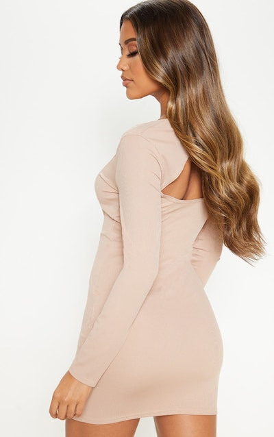 Stone Ribbed Back Cut Out Bow Detail Bodycon Dress