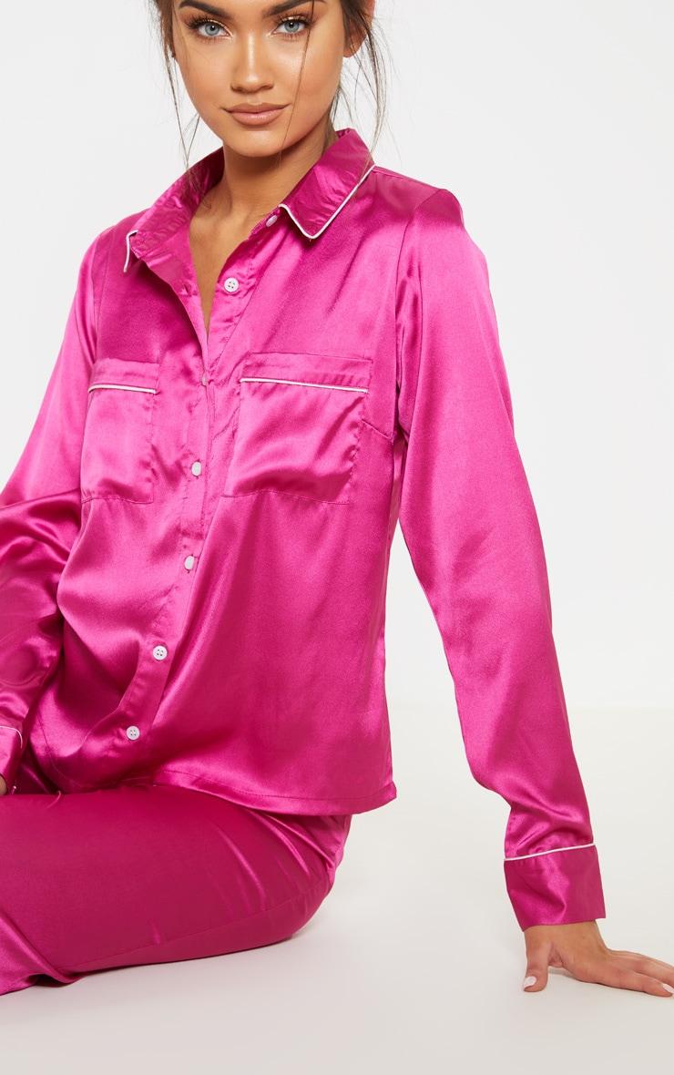 150208a97f Fuchsia Satin Wide Leg Pyjama Set image 5
