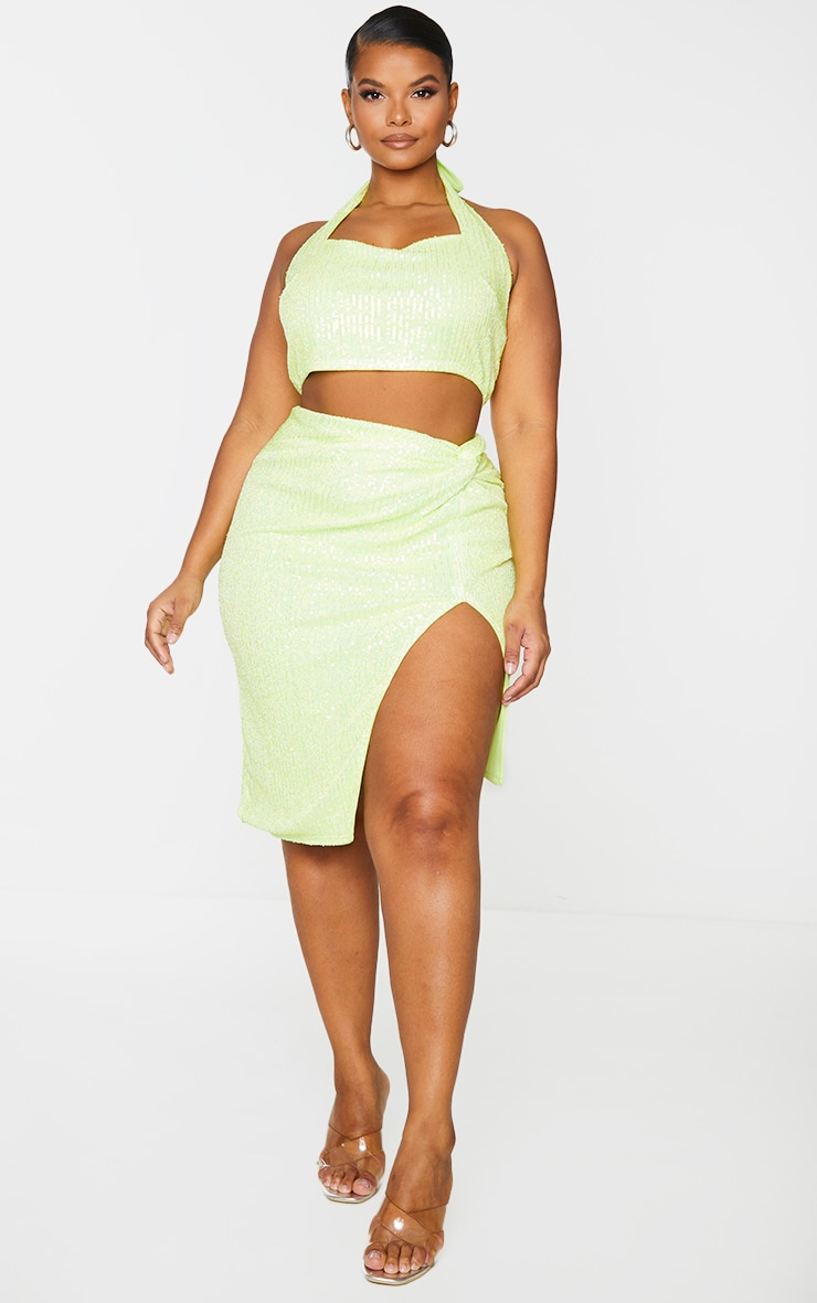 Plus Lime Sequin Wrap Midi Skirt 1