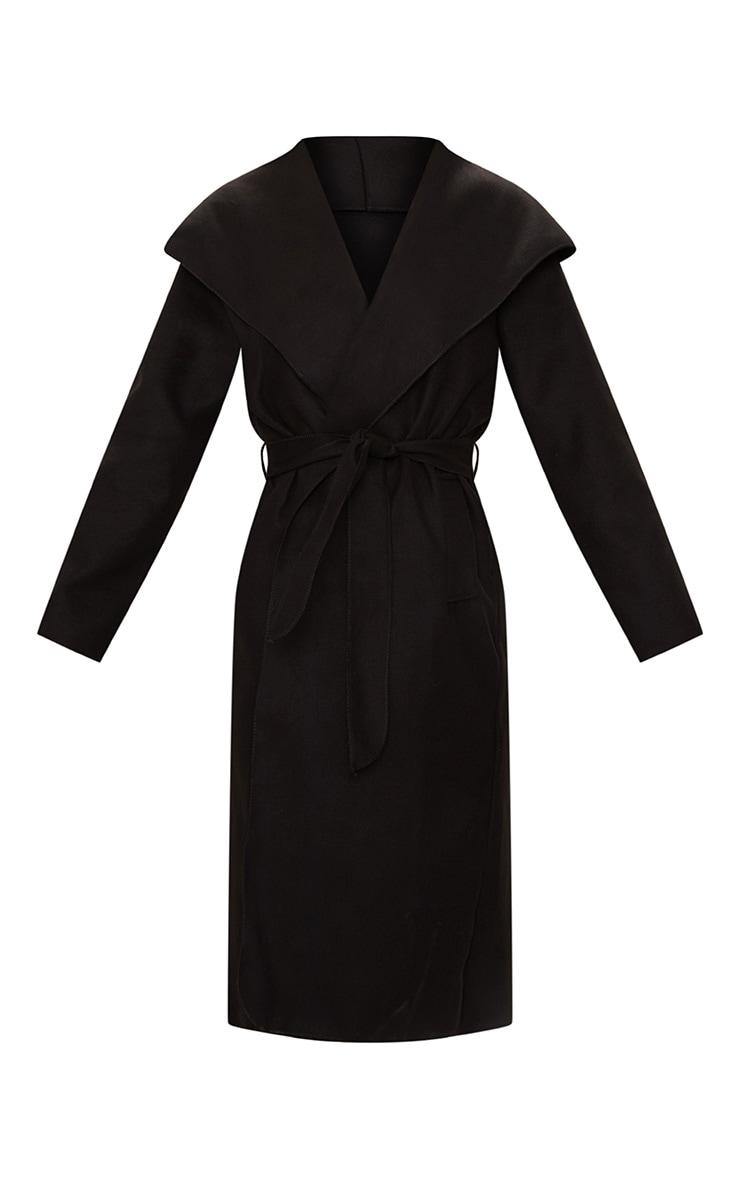 Veronica Black Oversized Waterfall Belt Coat 3