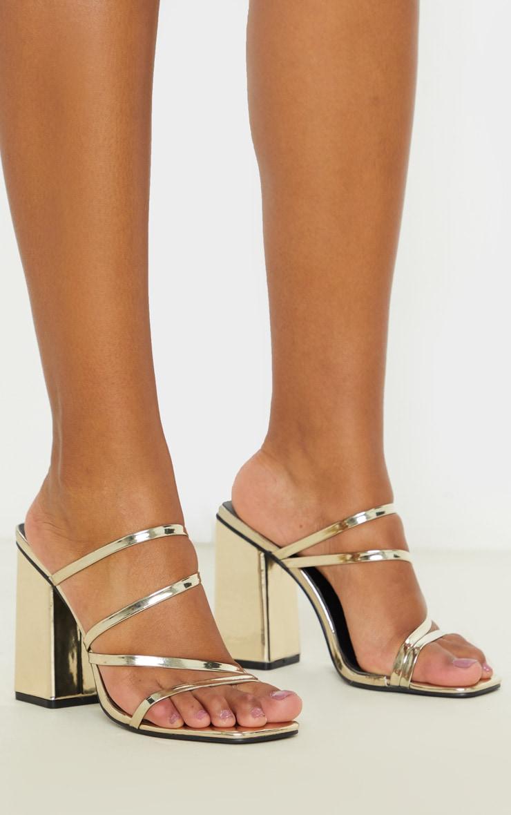 Gold Block Heel Strappy Mule Sandal 1