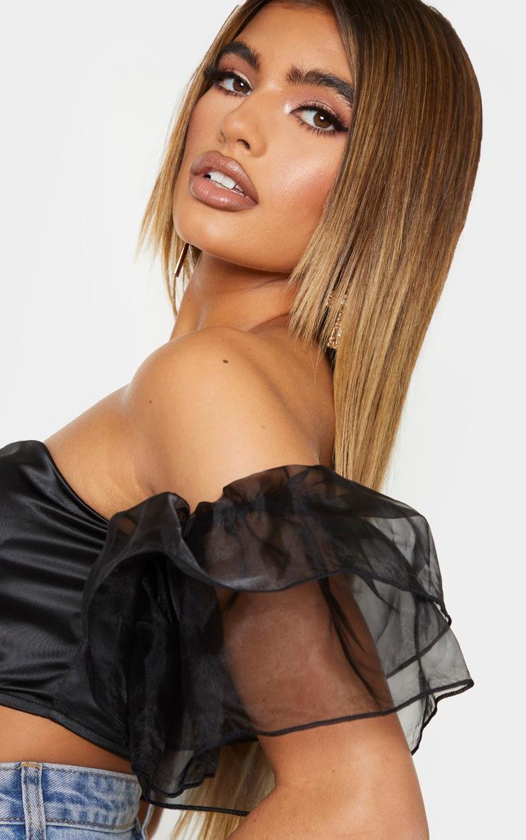 Black Satin Bardot Sheer Puff Sleeve Bandeau Top 4