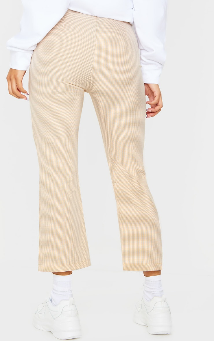 Taupe Gingham Straight Leg Crop Trousers 3