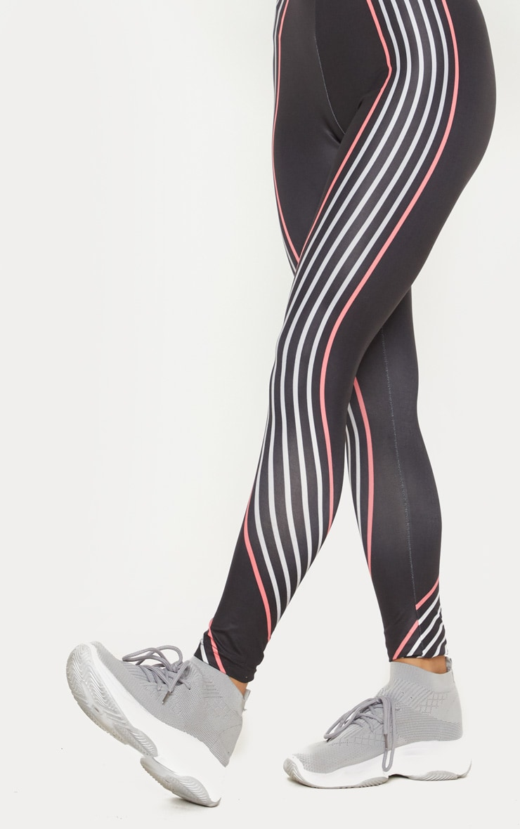 Black Illusion Stripe Legging 5