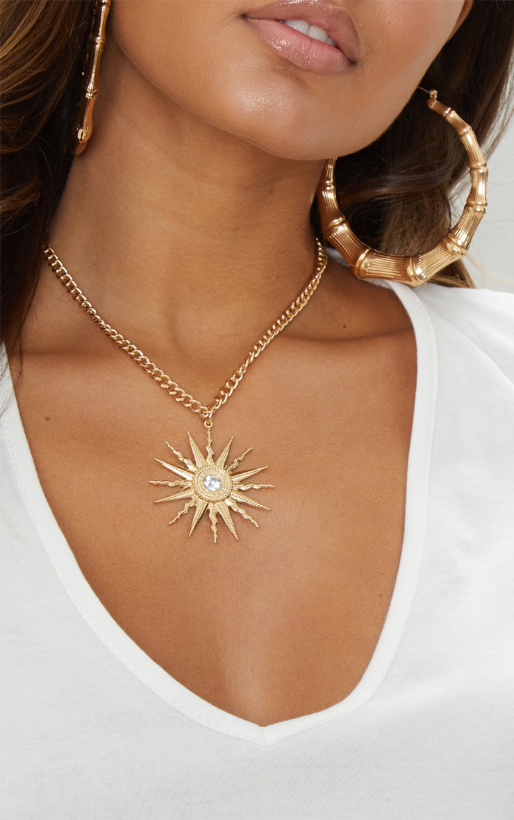 Gold Sundial Pendant Necklace