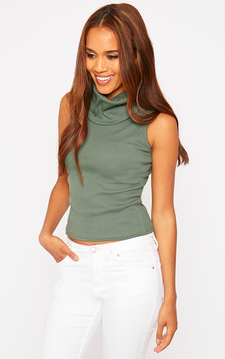 Melina Khaki Ribbed Turtle Neck Top 1