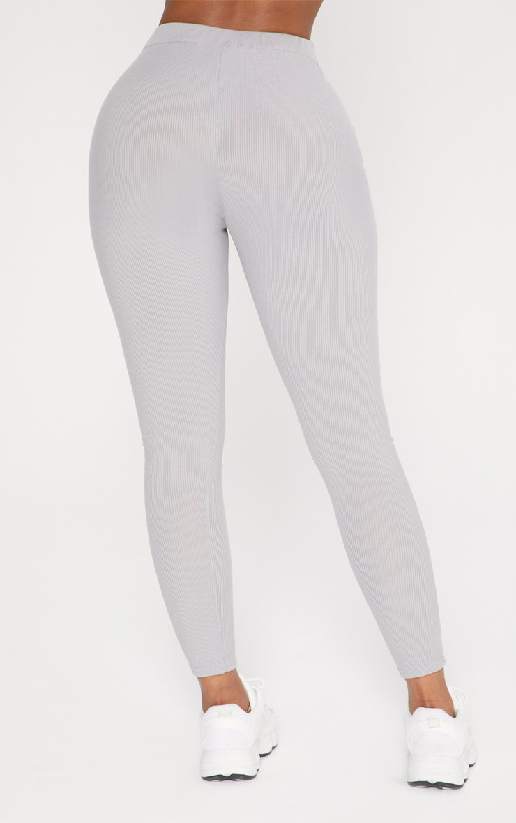 Shape Grey Marl Ribbed High Waist Leggings 4