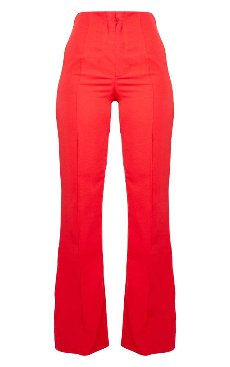 Red Woven Seam Detail Straight Leg Trousers 6