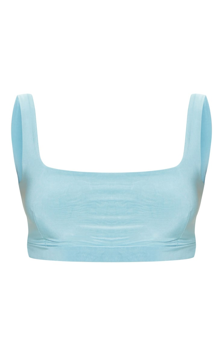 Dusty Turquoise Second Skin Slinky Square Neck Crop Top 3