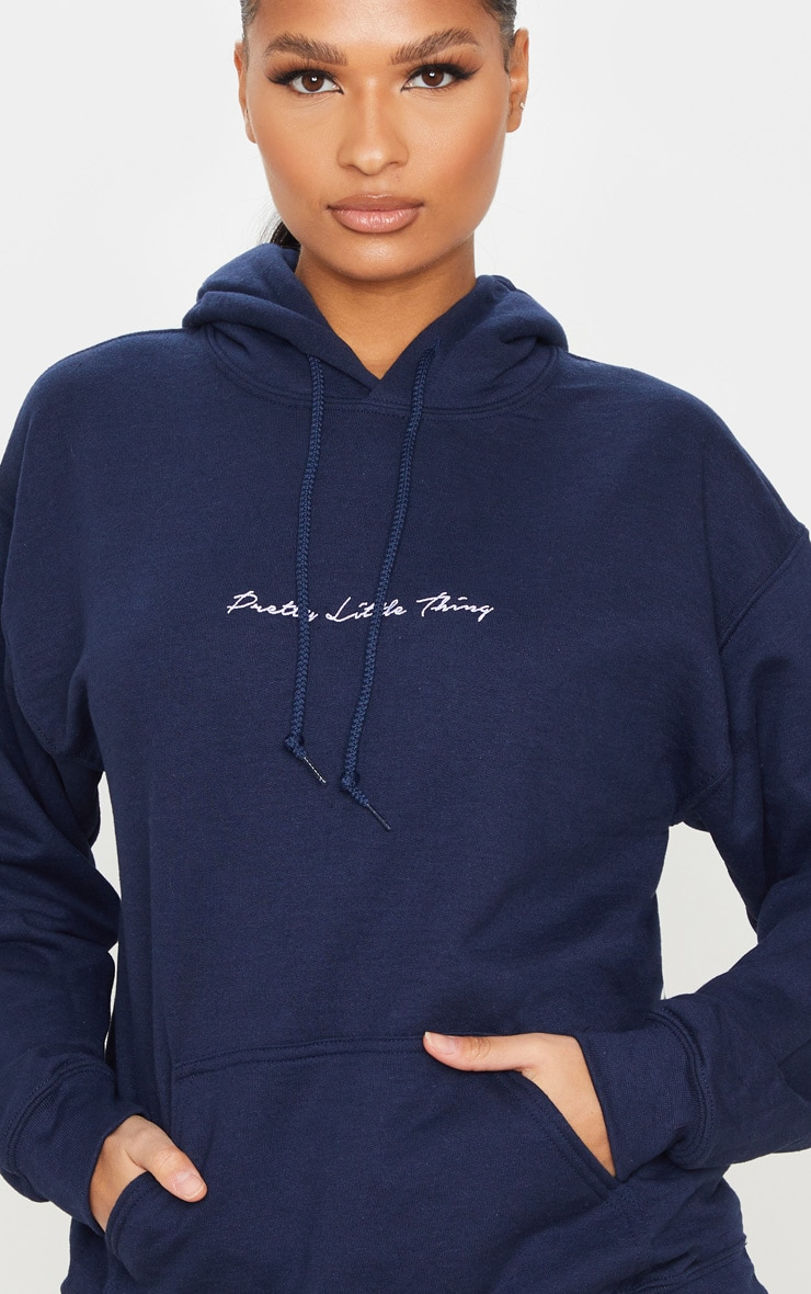 PRETTYLITTLETHING Recycled Navy Oversized Sweat Hoodie 4