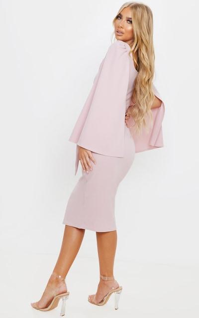 Dusty Lilac Cape Sleeve Tie Waist Midi Dress