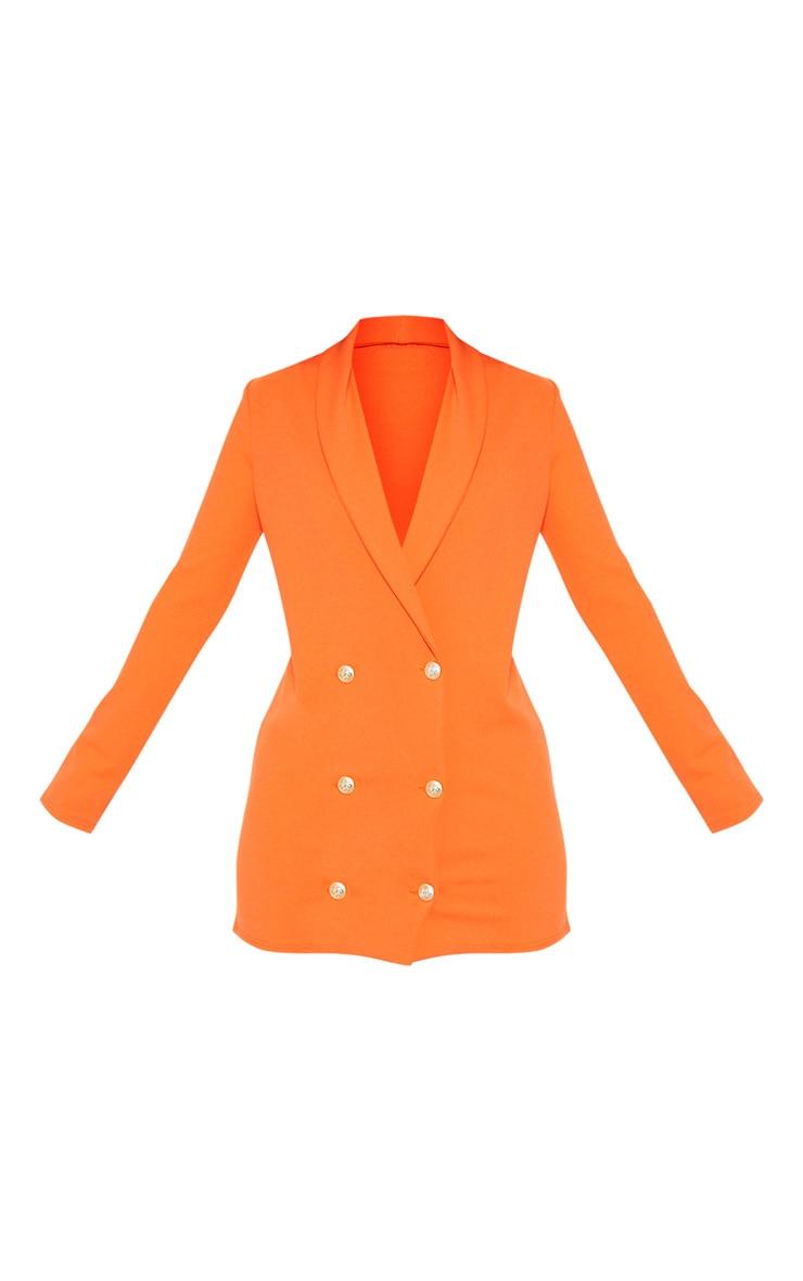 Petite Bright Orange Gold Button Blazer Dress 3