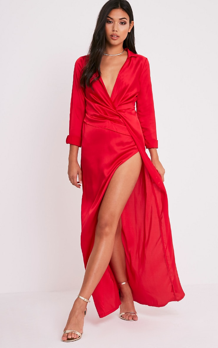 Alyssia Red Twist Front Maxi Shirt Dress 4