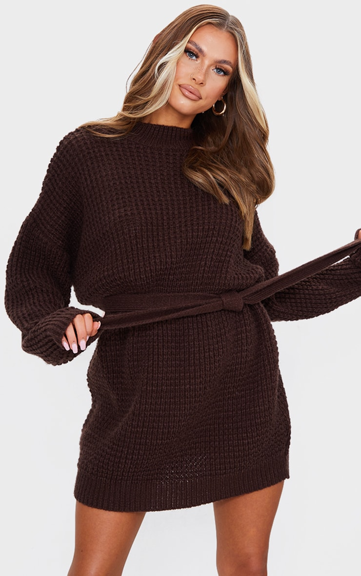 Chocolate Soft Touch Belted Knitted Jumper Dress 1