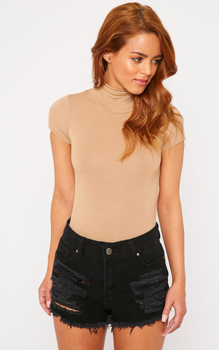 Basic Camel High Neck Bodysuit 1