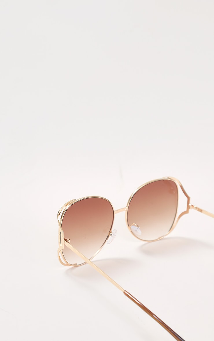 Brown Faded Lens Gold Cut Out Frame Oversized Sunglasses 4