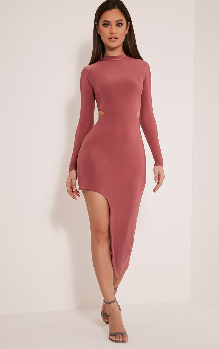 Avia Rose Cut Out Asymmetric Midi Dress 5