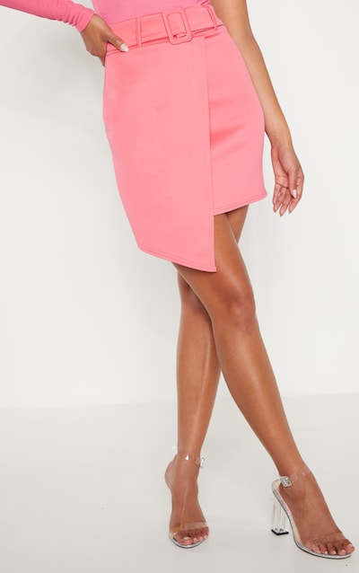 Candy Pink Belted Belted Wrap A Line Skirt