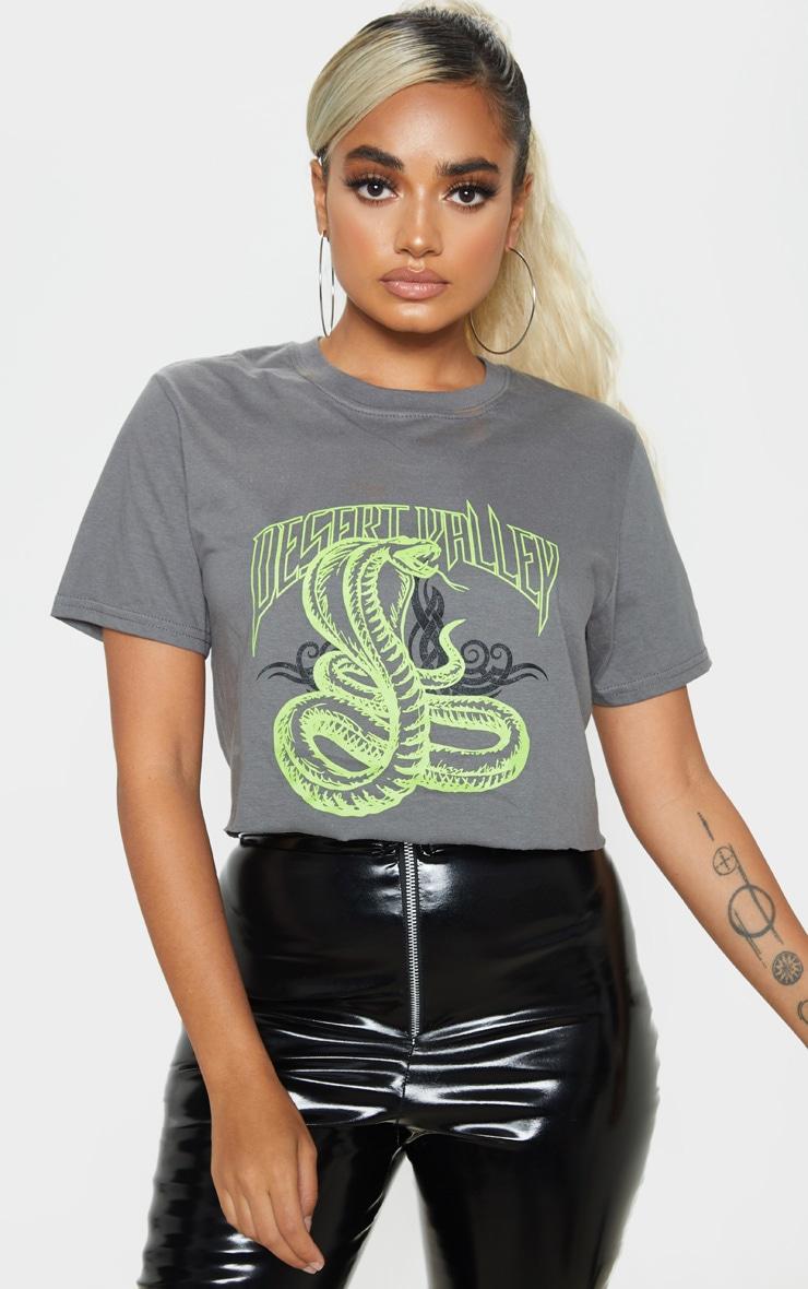 Petite Grey Snake Crop T-Shirt 1