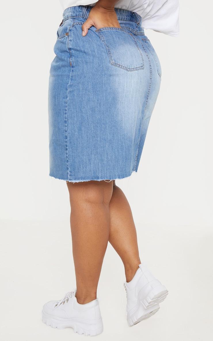 Plus Light Wash Denim Fray Hem Midi Skirt  4