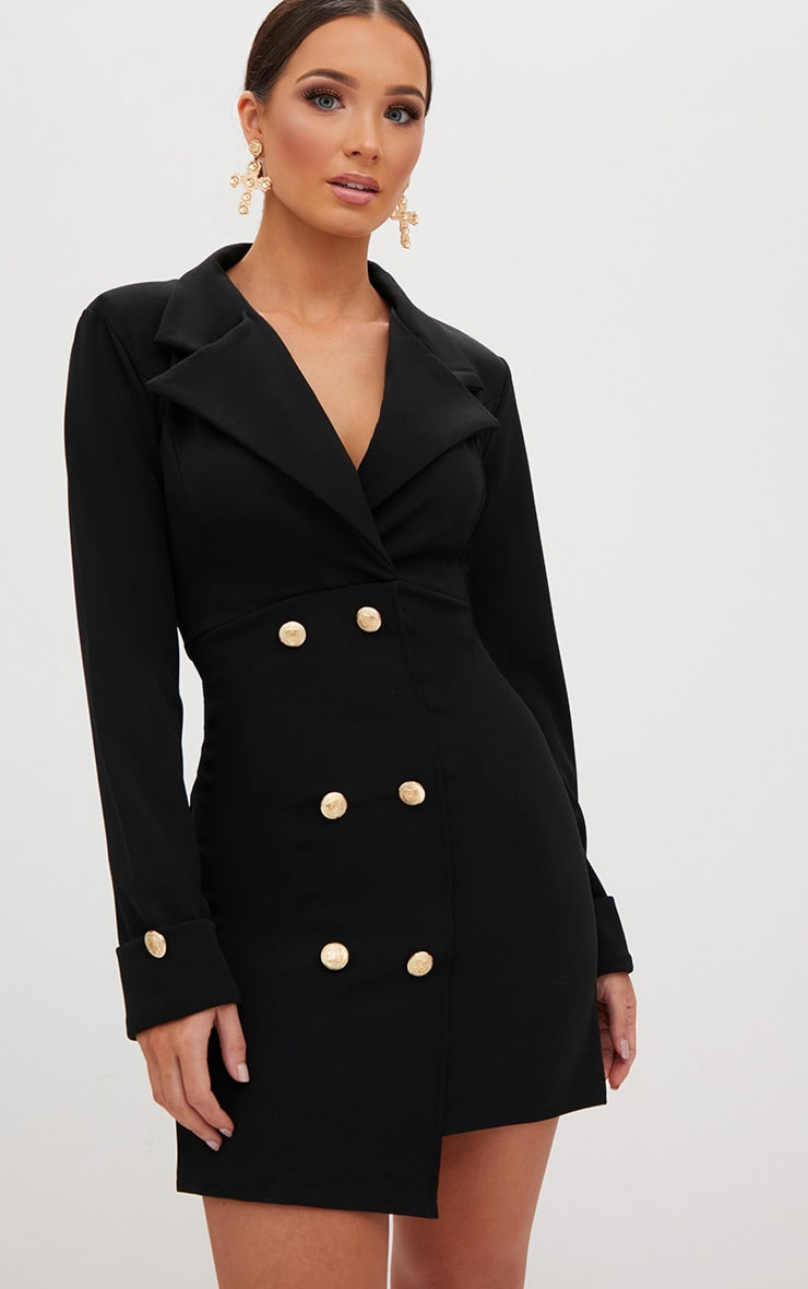 Black Gold Button Detail Blazer Dress 1