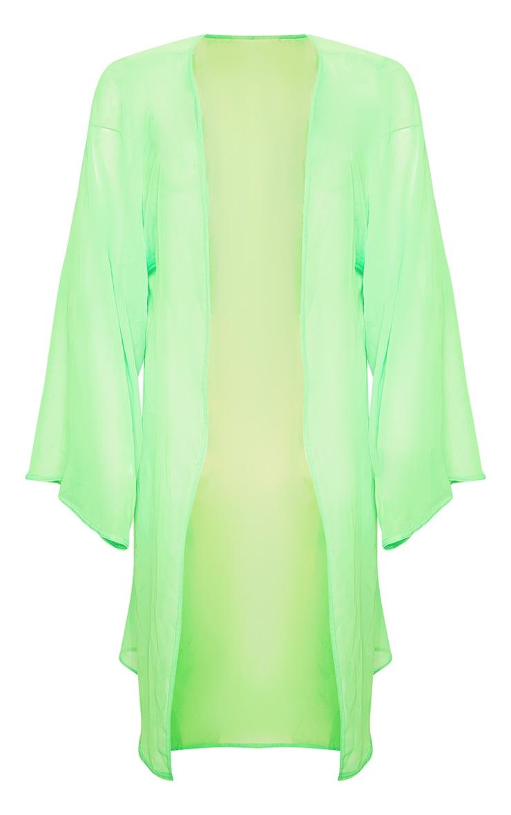 Neon Lime Wide Sleeved Kimono 6