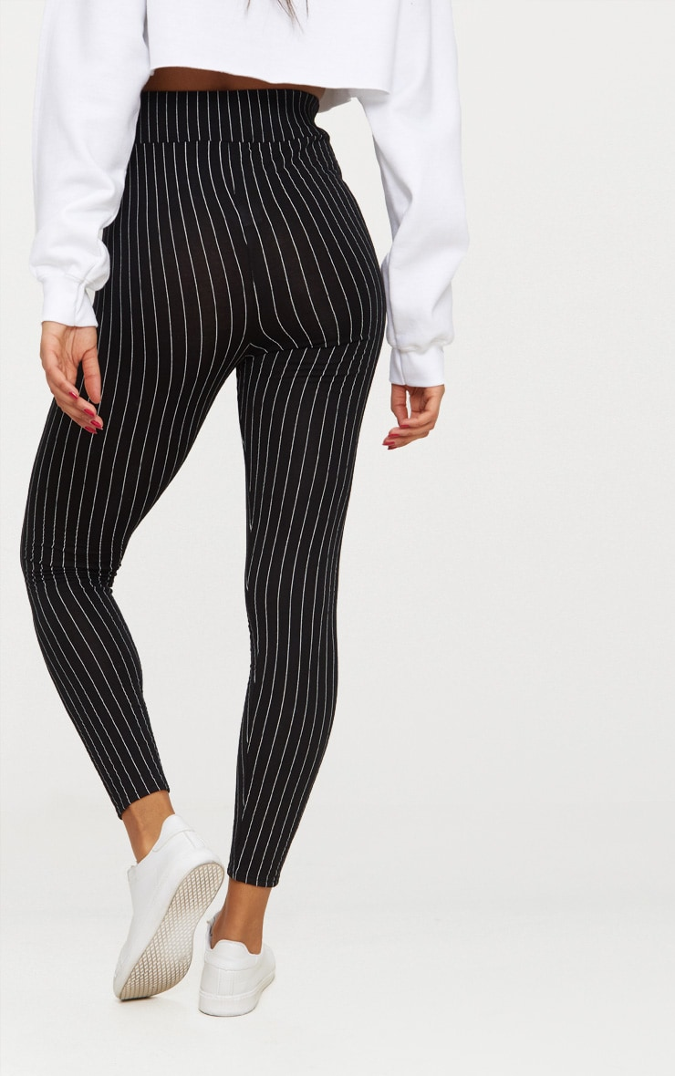 Black Pinstripe High Waisted Leggings 4