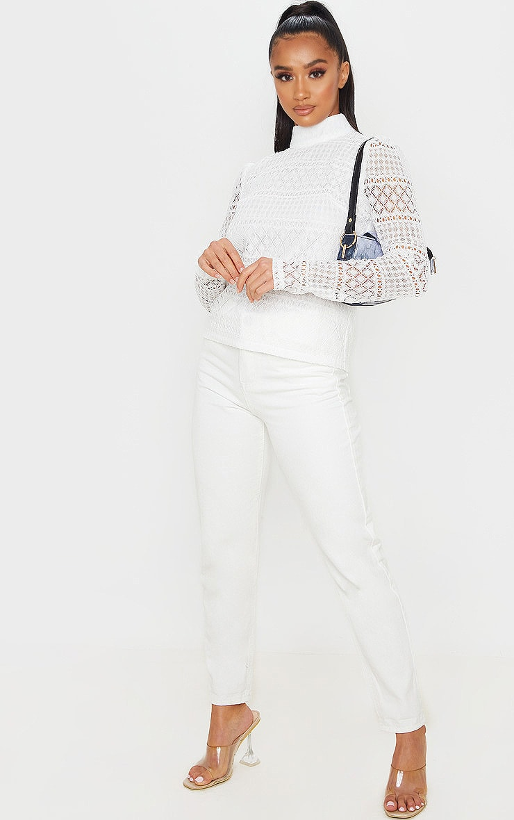 Petite Cream Long Sleeve Lace Blouse 5