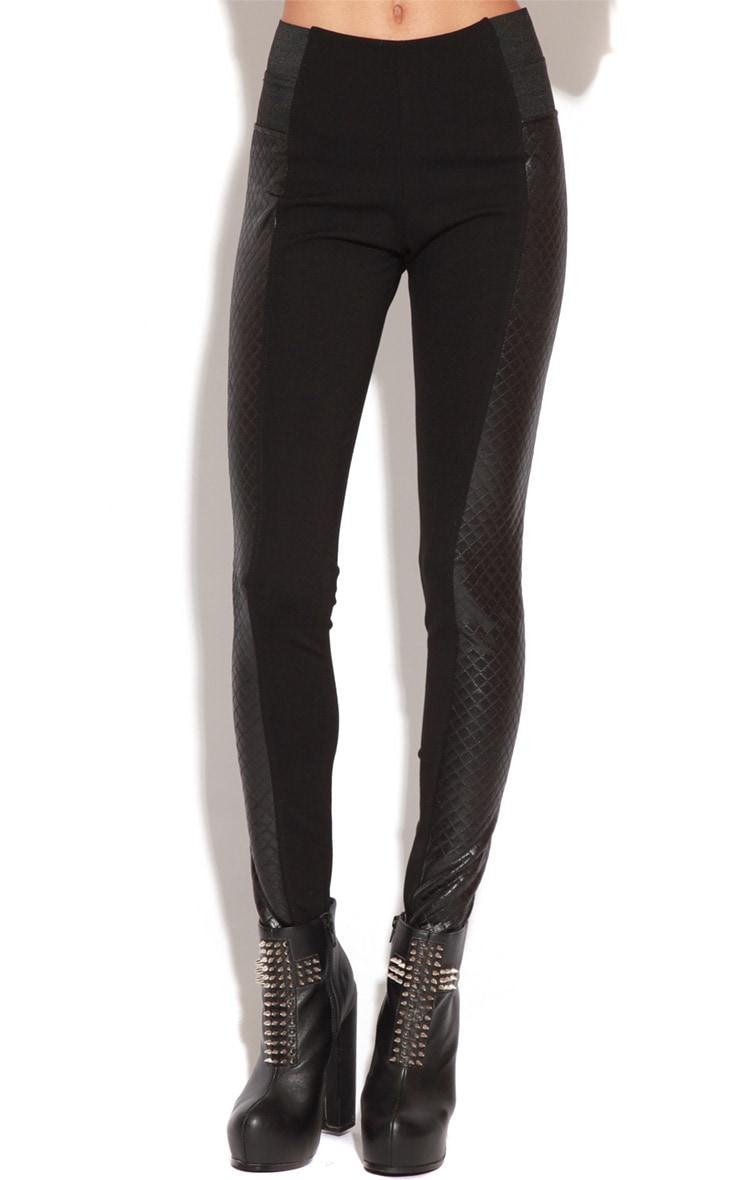 Corinna Black PU Panel Leggings 2