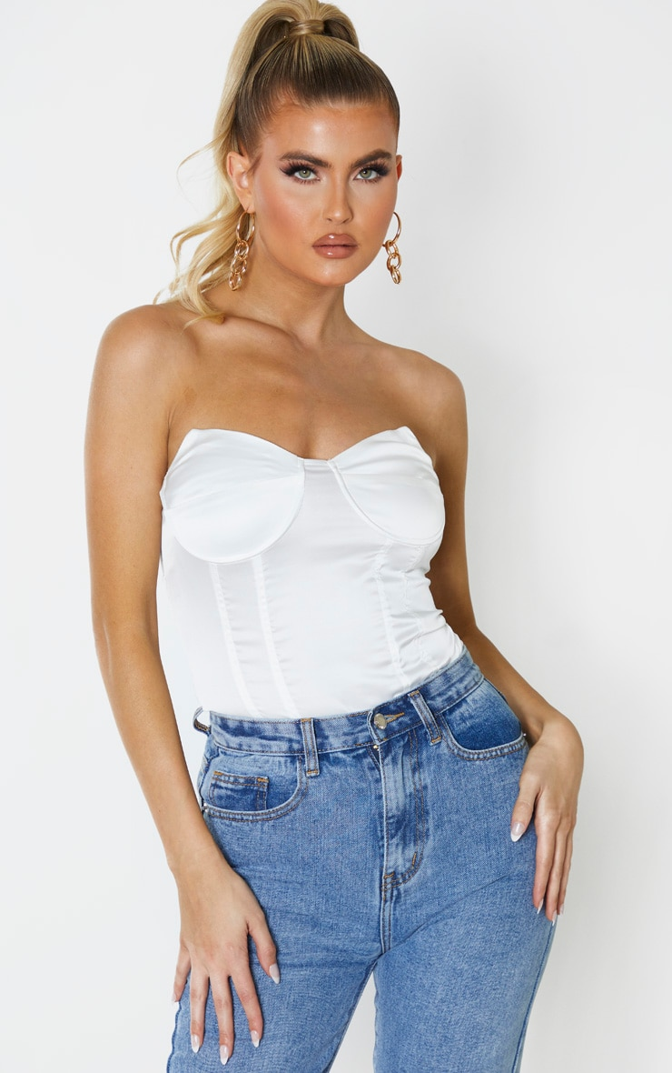 Tall White Satin Corset Bodysuit 5