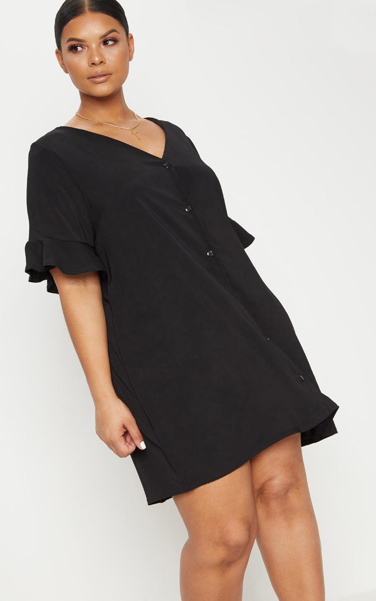 Plus Black Button Through Frill Sleeve Dress 1