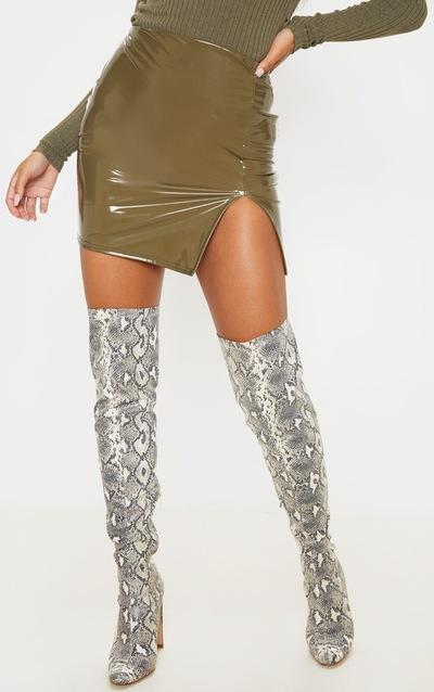 Olive Khaki Vinyl Extreme Side Split Mini Skirt