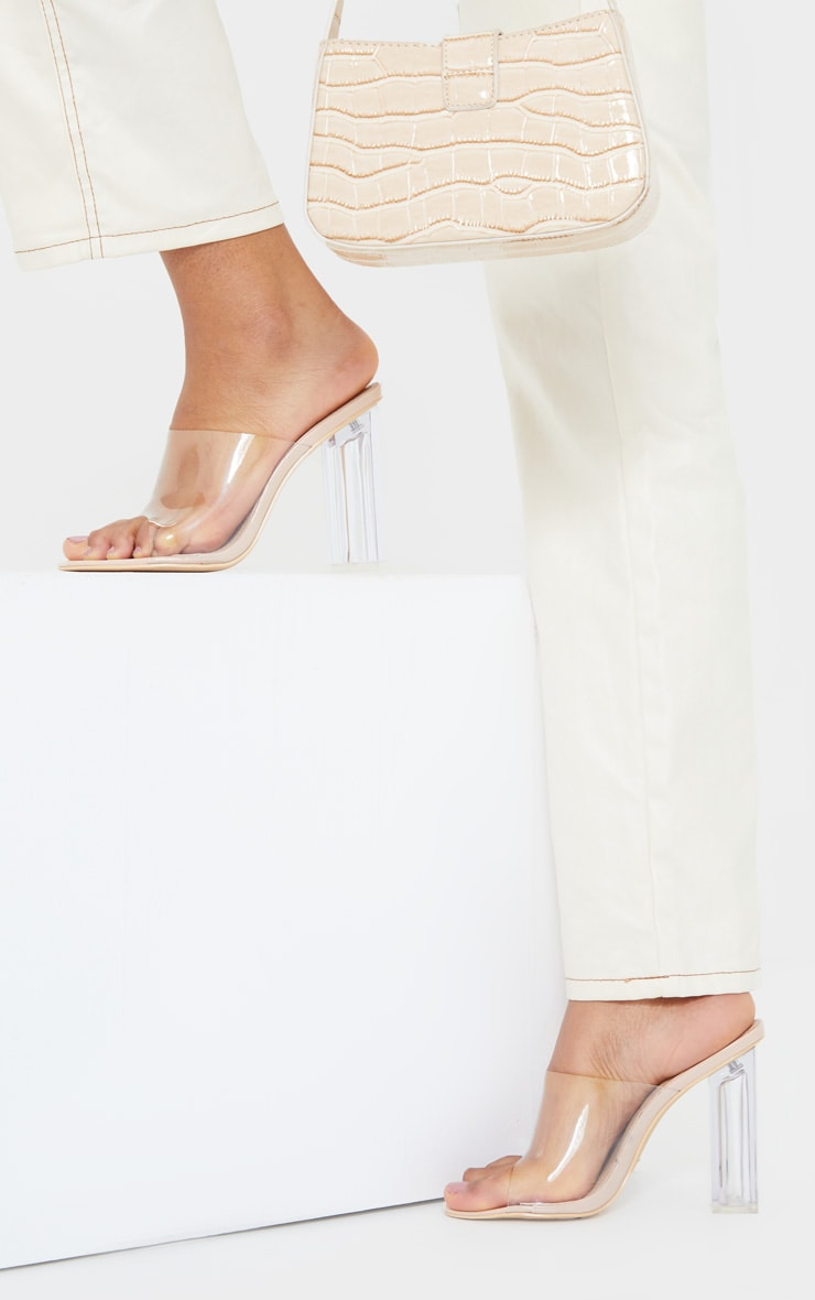 Nude Clear High Block Mule Heel 2