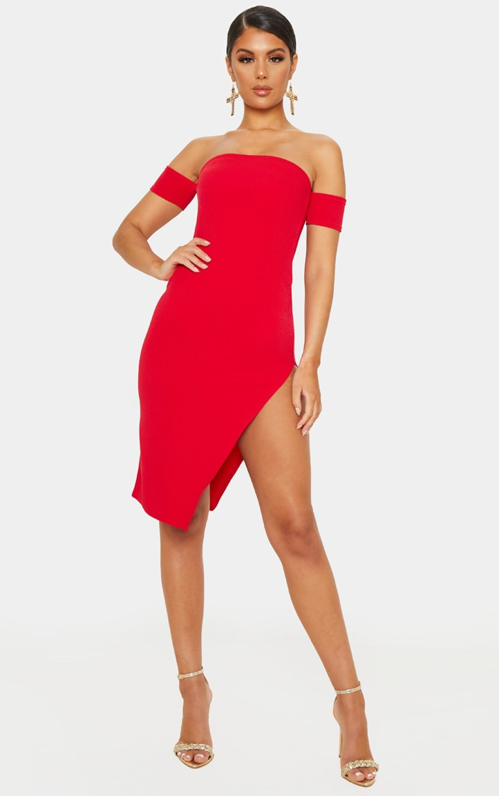 Red Cuff Detail Side Split Midi Dress 1