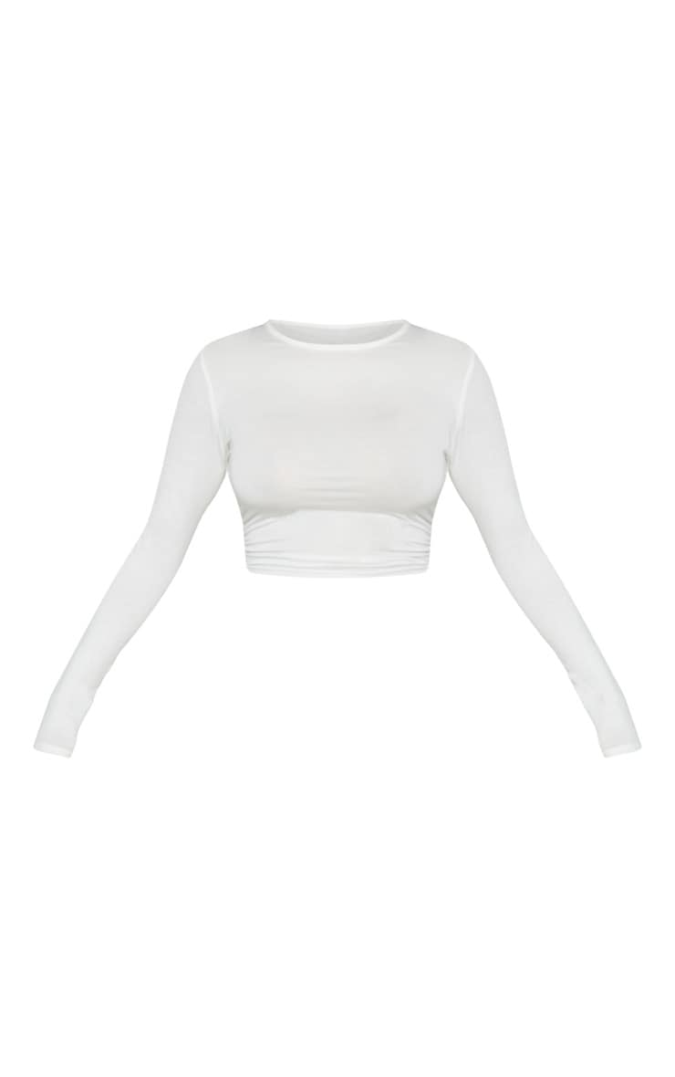 Cream Jersey Ruched Side Long Sleeve Top 3