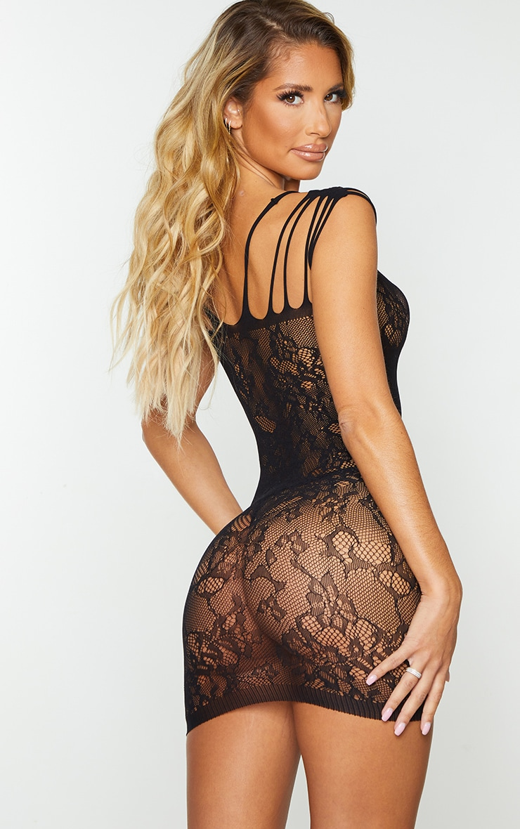 Black Strappy All Over Lace Body Stocking 2