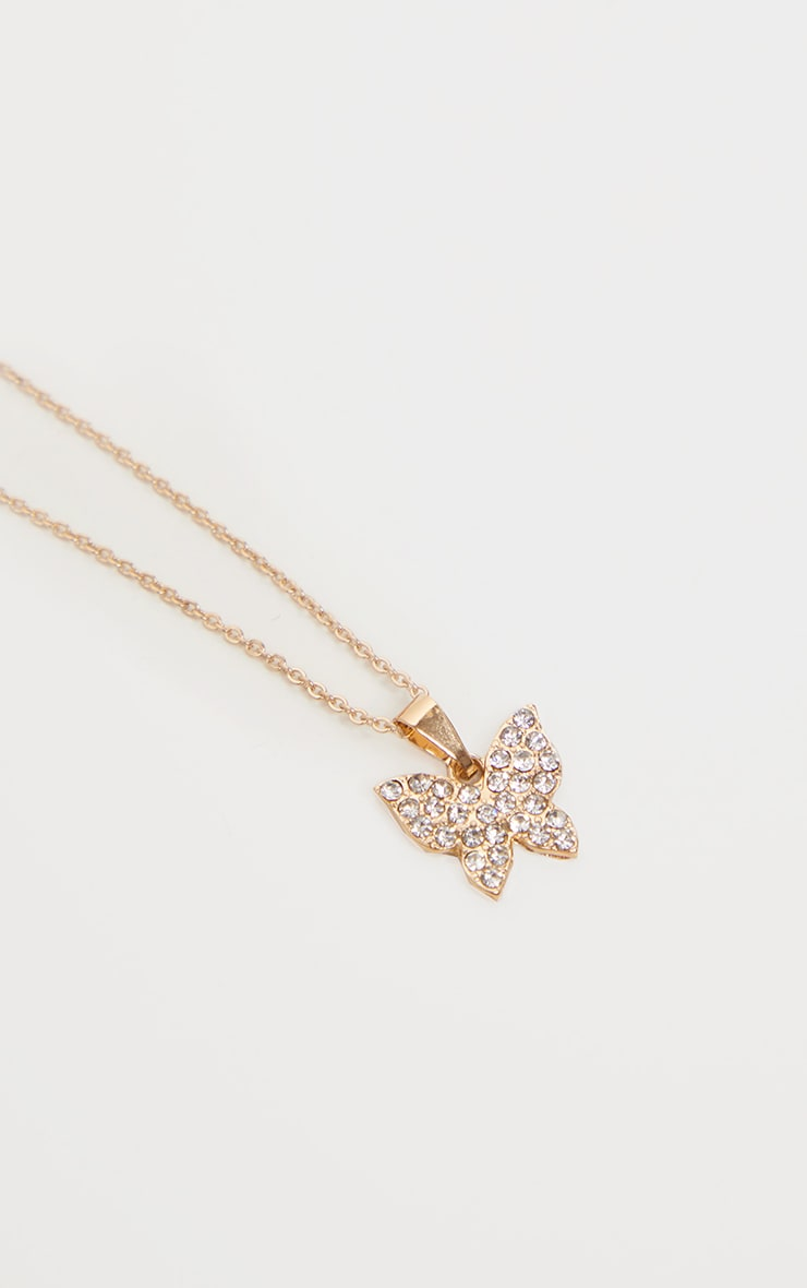Gold Diamante Simple Butterfly Necklace 3
