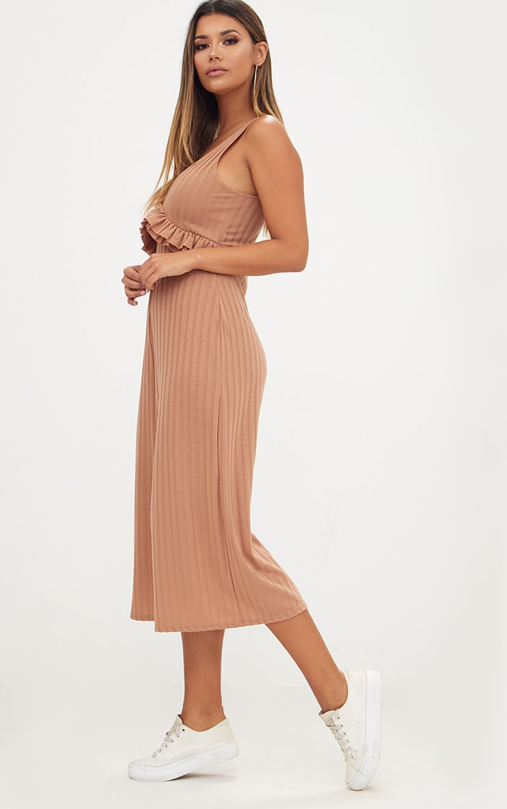 Camel Ribbed Frill Waist Culottes Jumpsuit 4