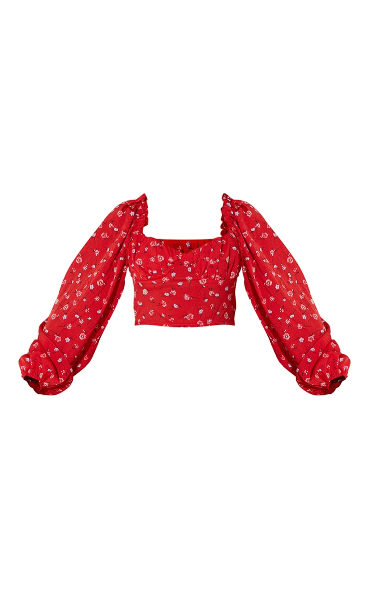 Red Ditsy Floral Mesh Cup Detail Long Sleeve Crop Top 5