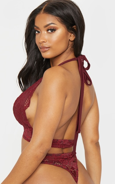 Shape Burgundy Halterneck Lace Tie Back Bralet
