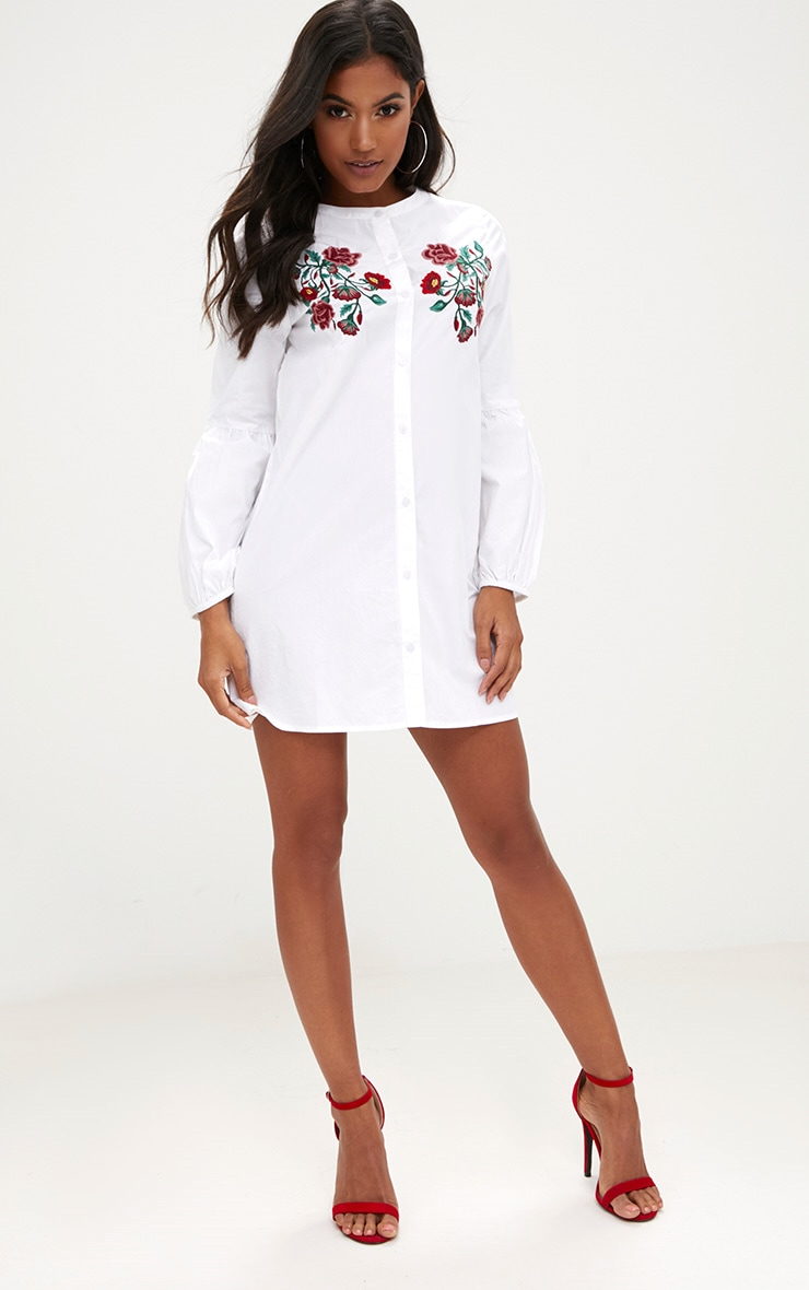 White Embroidered Long Sleeve Shirt Dress  4