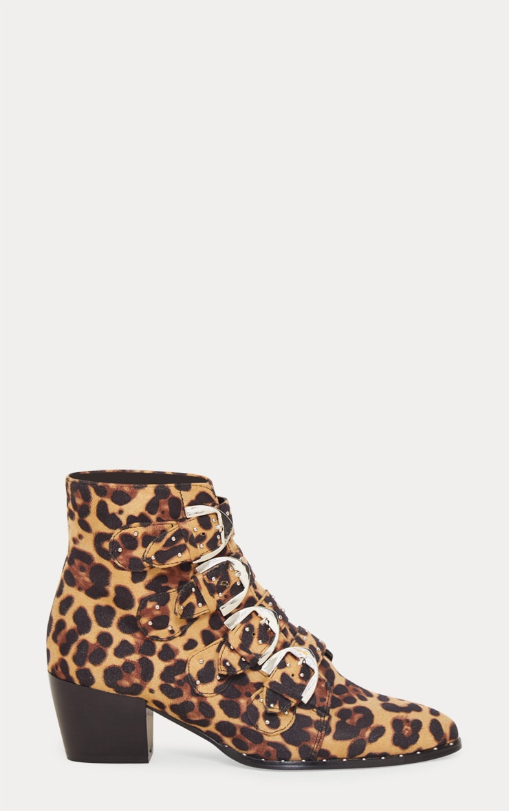 Leopard Pinstud Buckle Western Ankle Boot 4