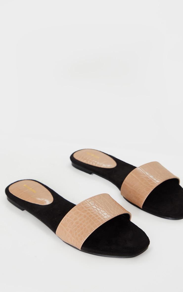 Nude Single Strap Mule Sandals 4