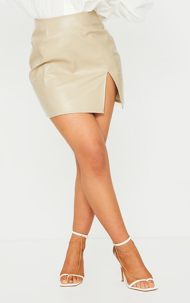 Stone Faux Leather Split Hem Mini Skirt 2