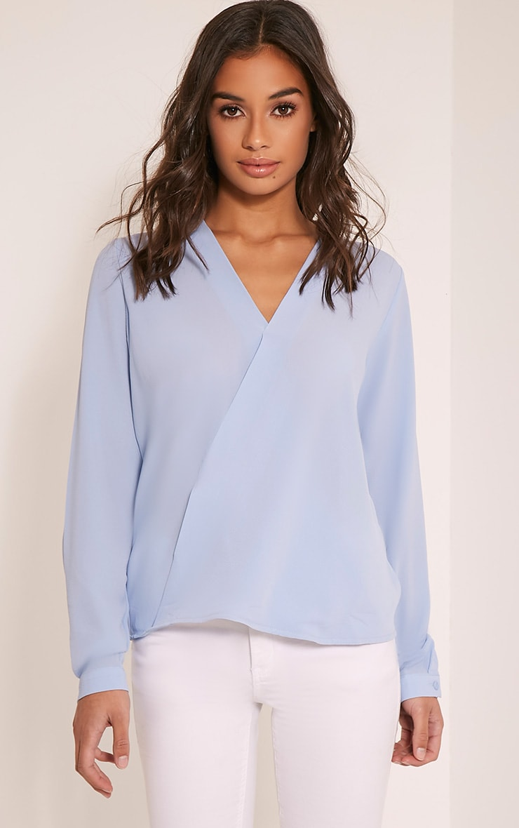 Maya Powder Blue Wrap Front Blouse 1